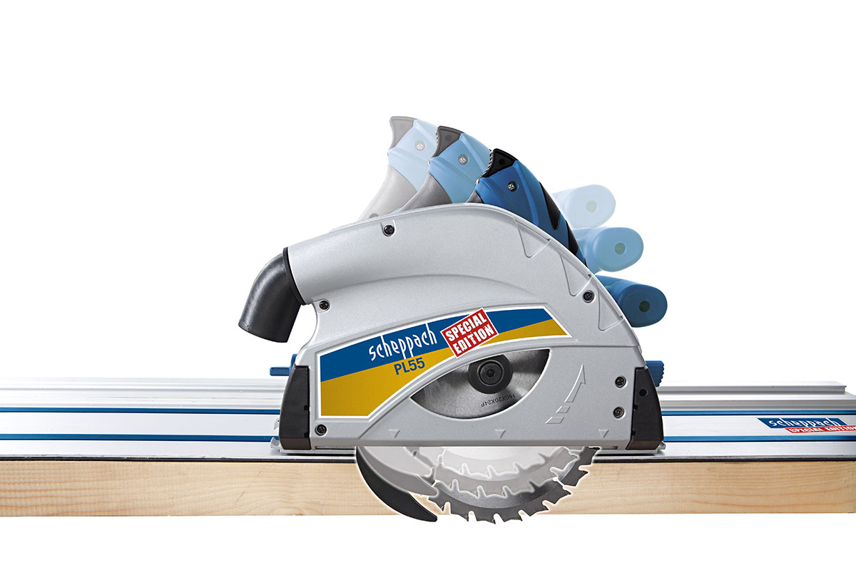 scheppach pl75 210mm plunge saw with 2 x 1400mm rails clamps plus free 72z saw blade. Black Bedroom Furniture Sets. Home Design Ideas